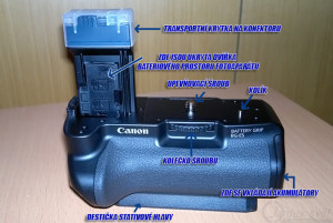 Přední pohled na battery grip BG-E5
