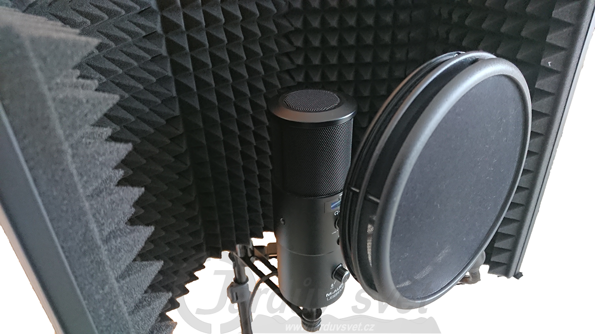 Akustická clona Tascam TR-AR1 a mikrofon M-Audio Uber Mic s POP filtrem Tascam TM-AG1